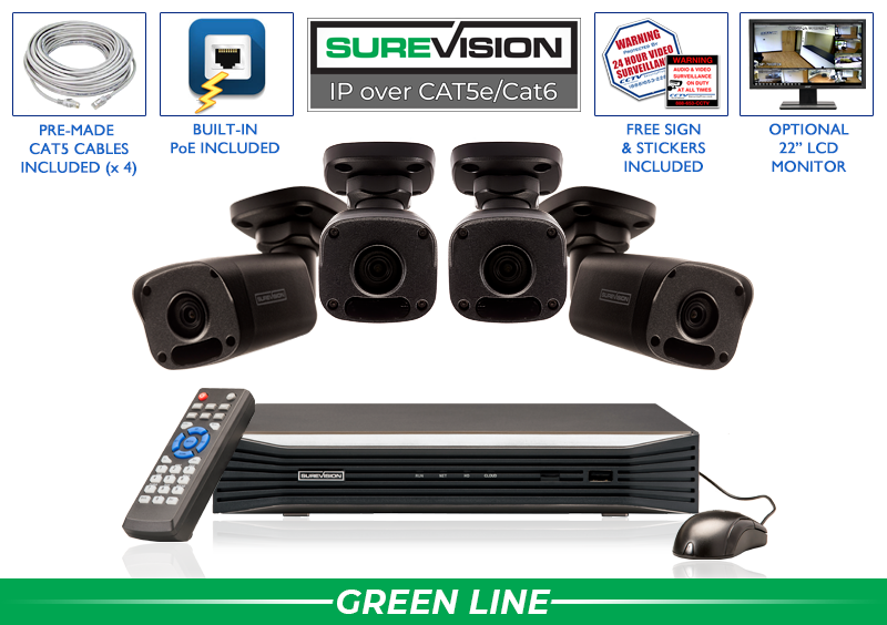SUREVISION 4 Camera 4MP Complete Indoor/Outdoor Bullet IP System (Black)