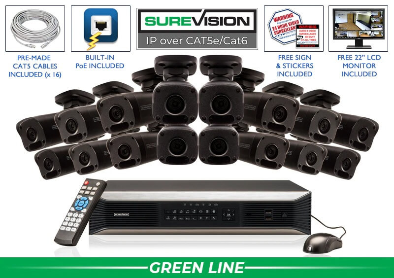Bullet IP 16 Camera NVR System with Smart Infrared / 16IPMB4-B