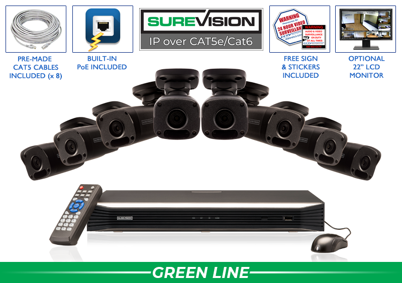 SUREVISION 8 Camera 4MP Complete Indoor/Outdoor Bullet IP System (Black)