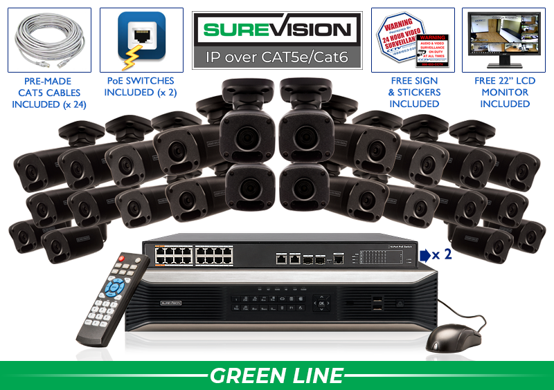 SUREVISION 24 Camera 4MP Complete Indoor/Outdoor Bullet IP System (Black)