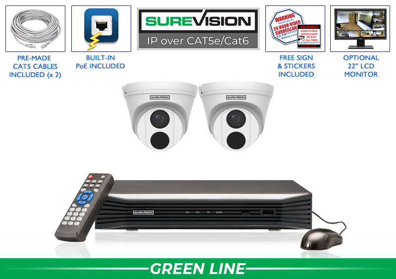 SUREVISION 2 Camera 4 MP  Complete Indoor/Outdoor Turret Dome IP System