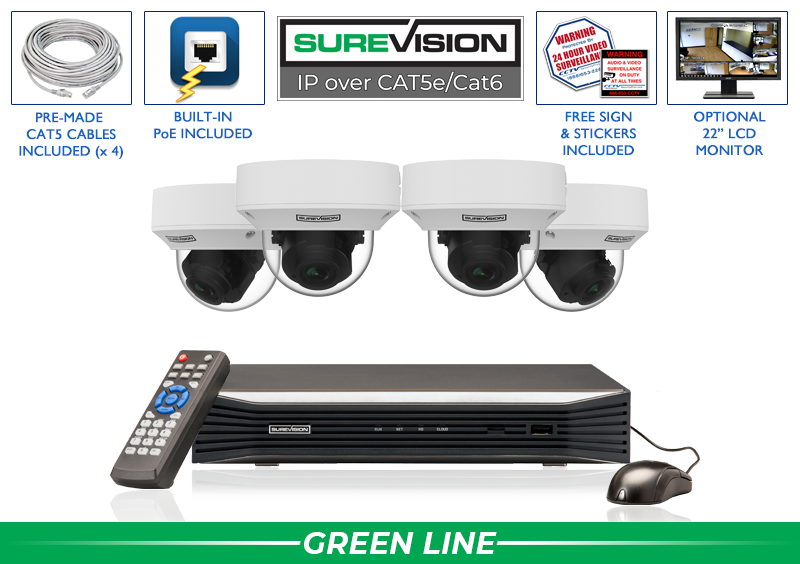 SUREVISION 4 Camera 5MP MOTORIZED ZOOM  Complete Indoor/Outdoor Vandal Dome IP System