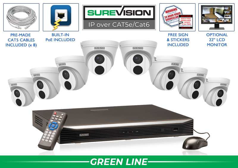 SUREVISION 8 Camera 4MP Complete Indoor/Outdoor Vandal Dome IP System