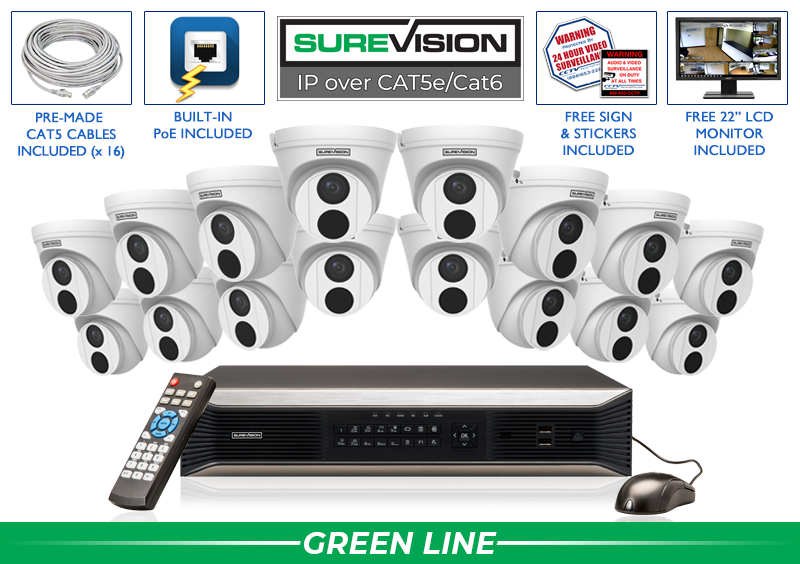 SUREVISION 16 Camera 4MP Complete Indoor/Outdoor Vandal Dome IP System