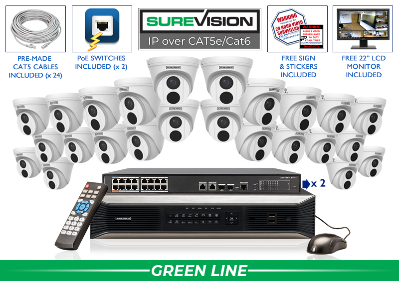 SUREVISION 24 Camera 4MP Complete Indoor/Outdoor Vandal Dome IP System