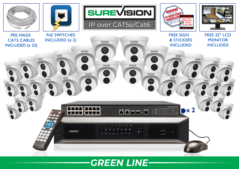 SUREVISION 32 Camera 4MP Complete Indoor/Outdoor Vandal Dome IP System