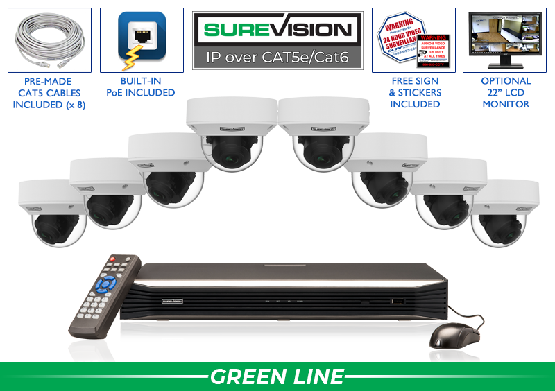 SureVision Complete 8 Camera IP Video Surveillance System with Motorized Dome Cameras / 8IPDV5