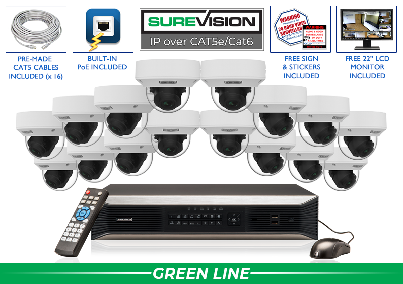 SUREVISION 16 Camera 5MP Complete MOTORIZED Indoor/Outdoor Vandal Dome IP System with Adjustable Zoom Lens