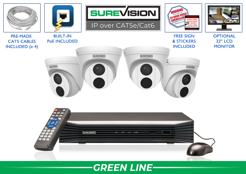 SUREVISION 4 Camera 4 MP  Complete Indoor/Outdoor Turret Dome IP System
