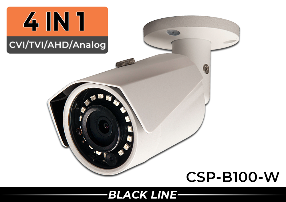 (4 in 1) Indoor/Outdoor 1000 Lines High Resolution Bullet Security Camera with 2.8mm Wide Angle Lens (White Color)