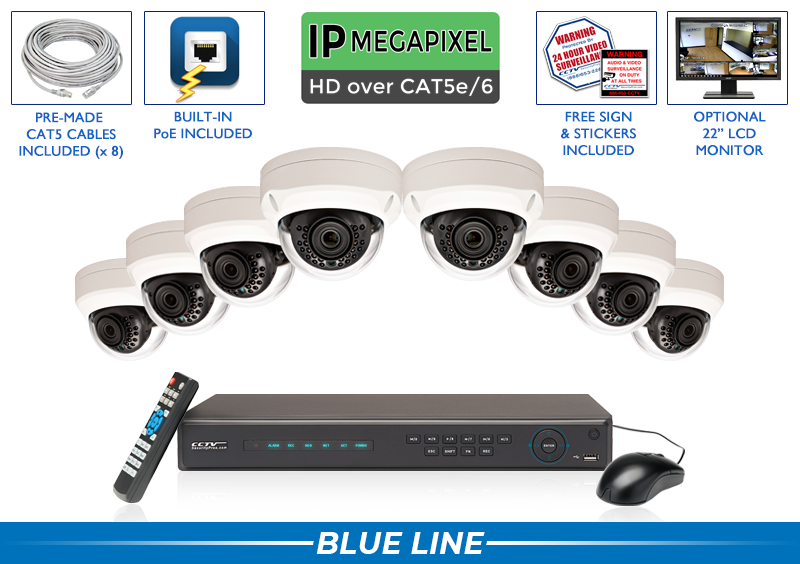 8 Camera 5 Megapixel IP Dome Security Camera System with Wide Angle Lens and Night Vision