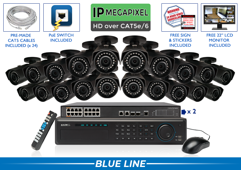 SUPER HIGH DEFINITION 5MP 24 INFRARED BULLET IP Security Camera System