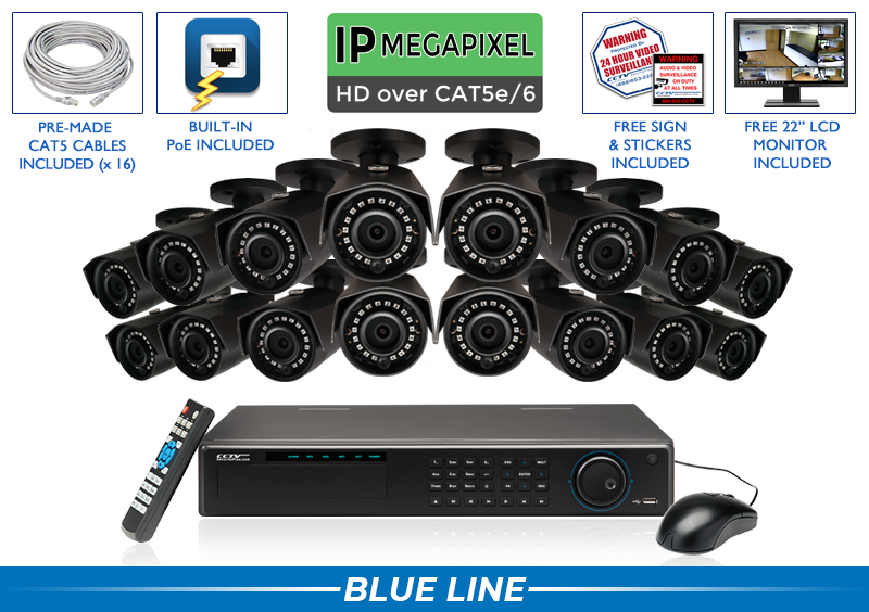 16 Camera Infrared Bullet 5MP IP NVR Security System with Night Vision