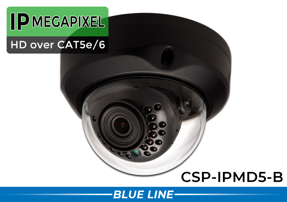 IP Vandal Dome 5MP Security Camera with Wide Lens and Night Vision (Black)