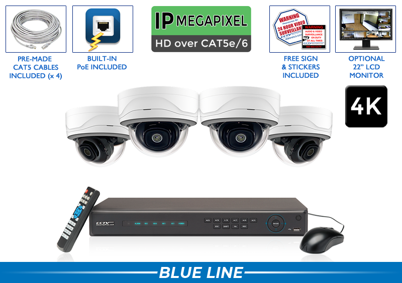 Complete 4 Camera (4K) IP Video Surveillance System with Free NVR Upgrade / 4POEMD8