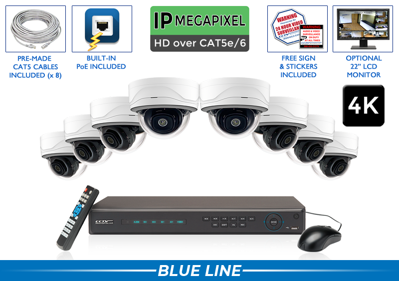 PRO Series Complete 8 (4K) IP Camera System with Free Upgrade to 16 Channel NVR / 8POEMD8