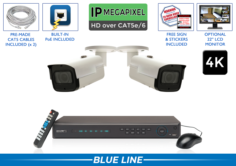 Professional 2 Camera 4K Starlight IP Camera System with 4 Channel NVR / 2POEMX8-S