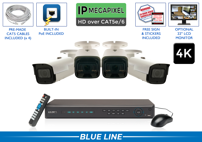 PRO Series Complete 4 4K IP Camera System with Free Upgrade to 8 Channel NVR / 4POEMX8-S