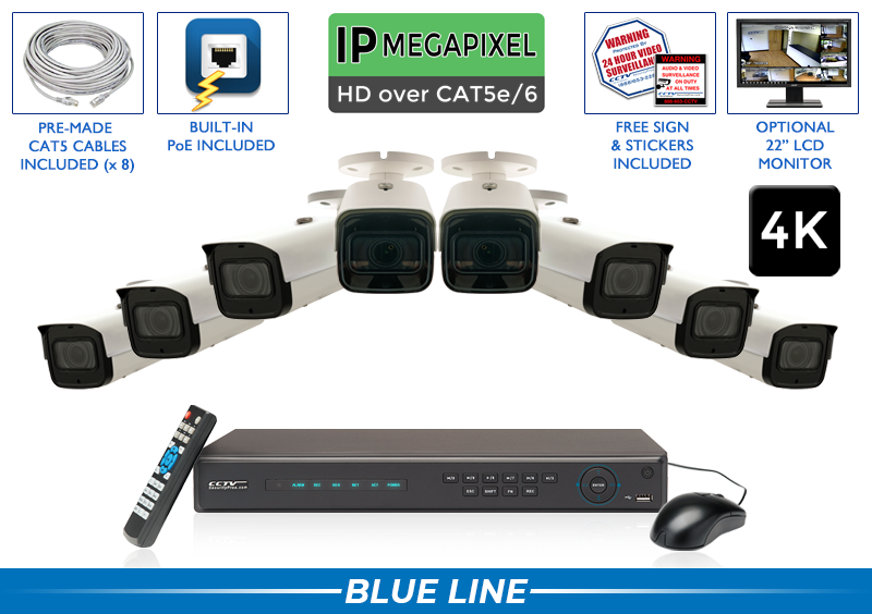 PRO Series Complete 8 (4K) IP Camera System with Free Upgrade to 16 Channel NVR / 8POEMX8-S