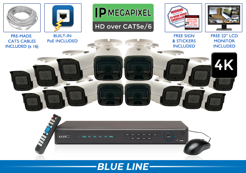 4K Starlight IP Video Surveillance Camera System / 16POEMX8-S