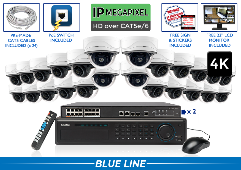 EXTREME Series Complete 24 (4K) IP Camera System with 32 Channel NVR / 24NVRMD8
