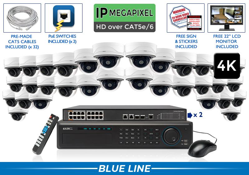 32 Camera 4K IP Dome Starlight System / 32NVRMD8