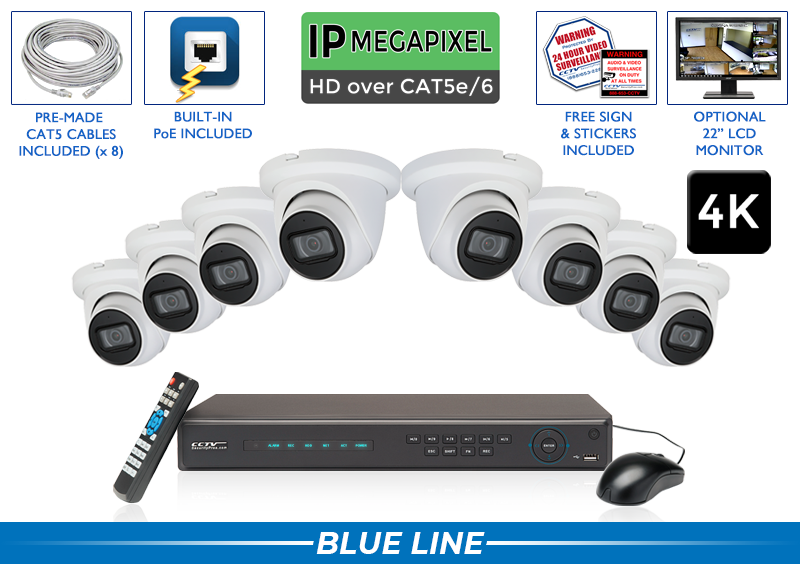 8 Channel IP System with 4K Microphone Cameras / 8POEMIC8