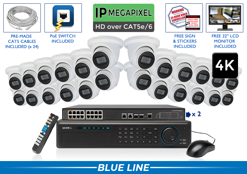 Complete 24 Camera IP Camera System with 32 Channel NVR (Built-in Microphone) / 24NVRMIC8