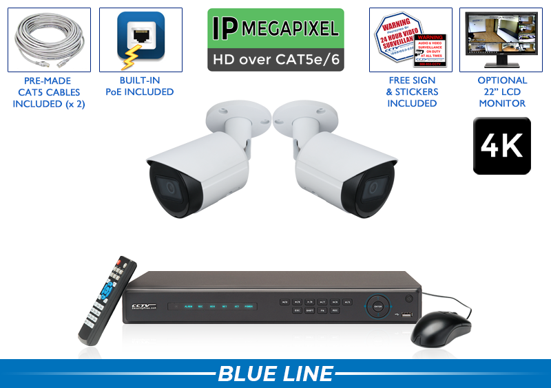 Professional 4K IP Security Camera System with 2 IP Cameras and 4 Channel NVR / 2POEB8-S