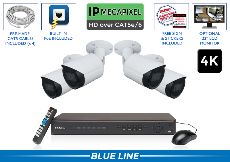 Professional 4K 4 IP Surveillance System with Starlight Night Vision / 4POEB8-S