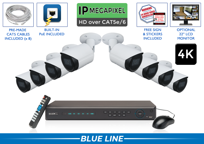 PRO Series Complete 8 IP Camera System with Free Upgrade to 16 Channel NVR / 8POEB8-S