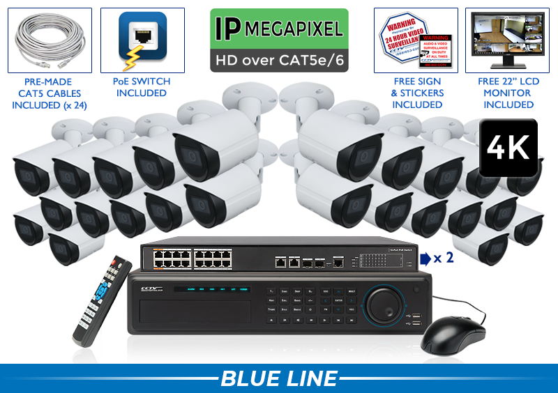 (4K) 24 Camera IP Camera System with 32 Channel NVR / 24NVRB8-S