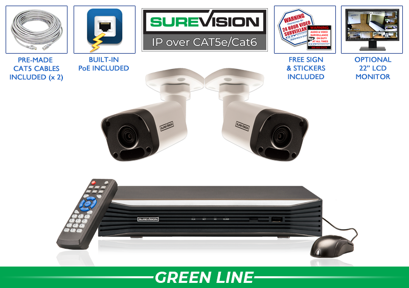 Complete 2 Camera HD IP Surveillance System with 100 Foot Night Vision / 2IPMB4