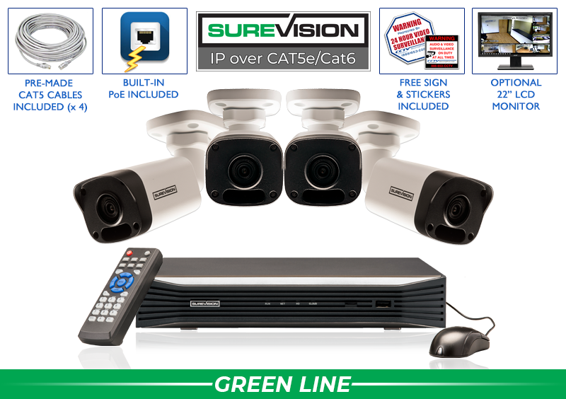 8 Channel NVR with 4 IP Bullet Cameras with 100 Foot Night Vision  / 4IPMB4