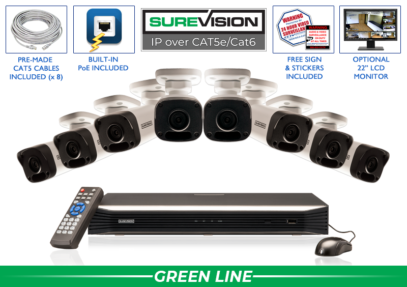 (WHILE SUPPLIES LAST) 8 Camera IP Surveillance Camera System with Infrared Bullet Cameras / 8IPMB4