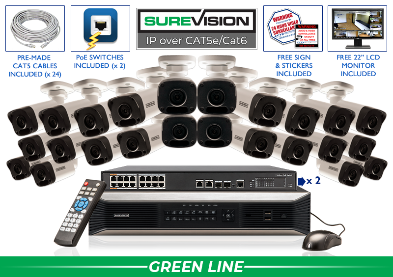 (BACKORDERED - SHIPS 10/5) IP Camera System with 24 IP Cameras and 32 Channel NVR / 24IPMB4