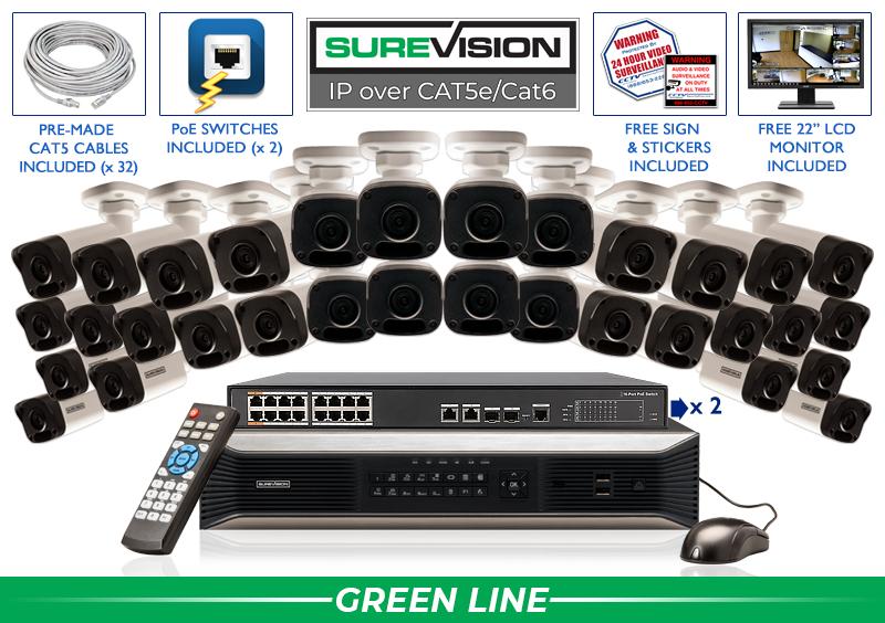 Complete 32 Channel IP Camera Indoor Outdoor System / 32IPMB4