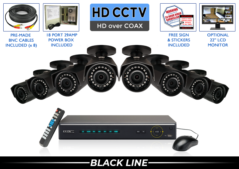 8 Camera HD Security Camera System with Free Upgrade to 16 Channel DVR / 8PROCVIB5-B
