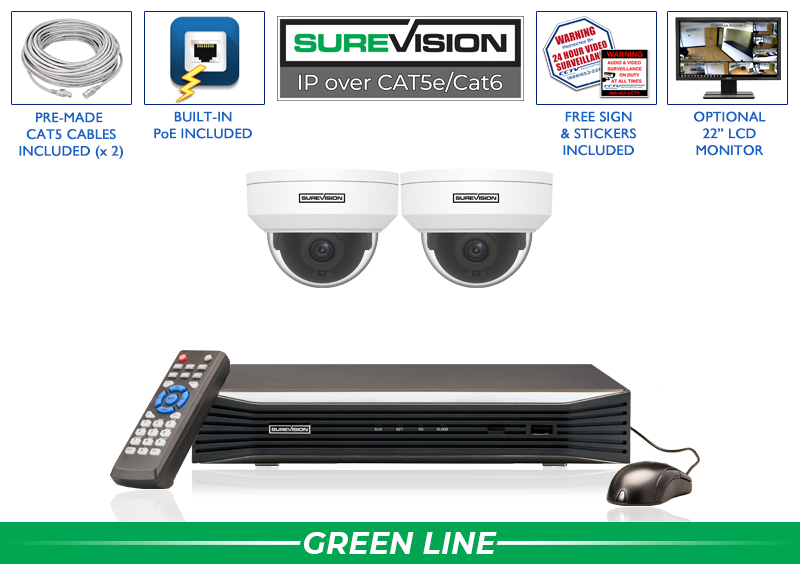 IP System with 2 Vandal Dome Security Cameras / 2IPVD4-S