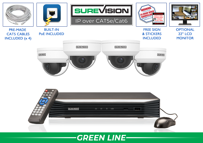 4 Cameras 4MP Vandal Dome IP System with 8 Channel Network Video Recorder / 4IPVD4-S