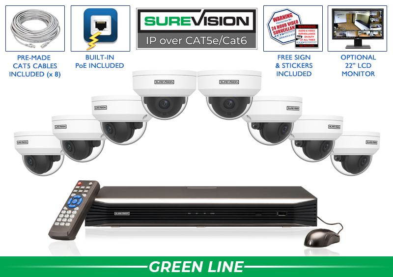 Complete 4 Megapixel IP Video Security System with Network Video Recorder / 8IPVD4-S