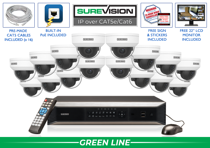 IP 4MP Security Camera System with 16 Cameras  / 16IPVD4-S