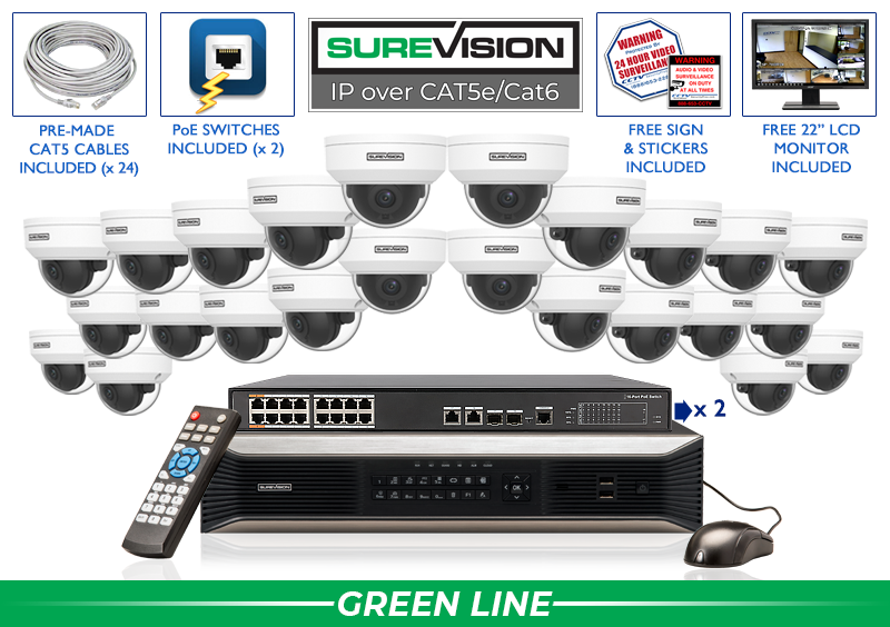 Complete 24 Camera Starlight  IP Camera System with 32 Channel NVR / 24IPVD4-S