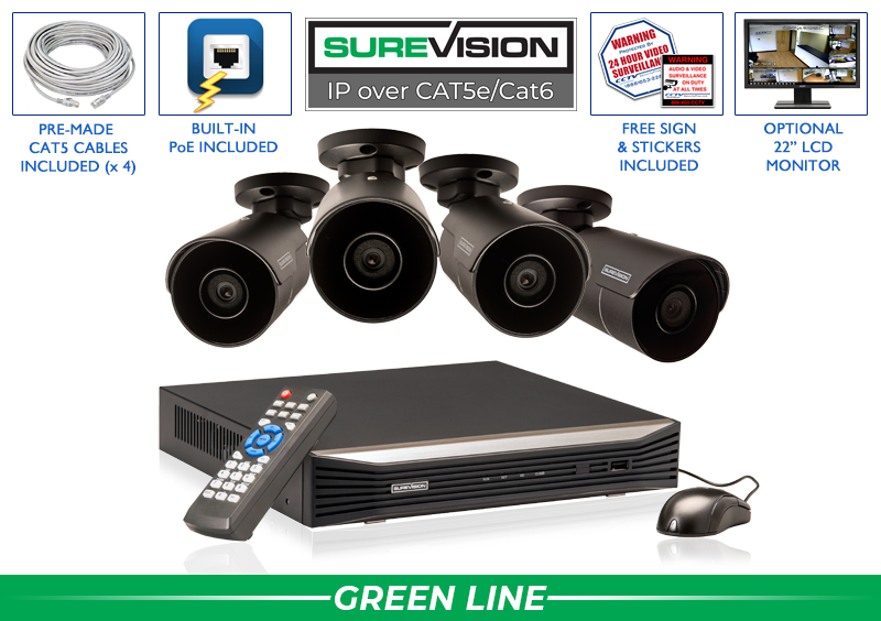 8 Channel NVR with 4 IP Bullet Cameras with 164 Foot Night Vision  / 4IPMB4-B-S