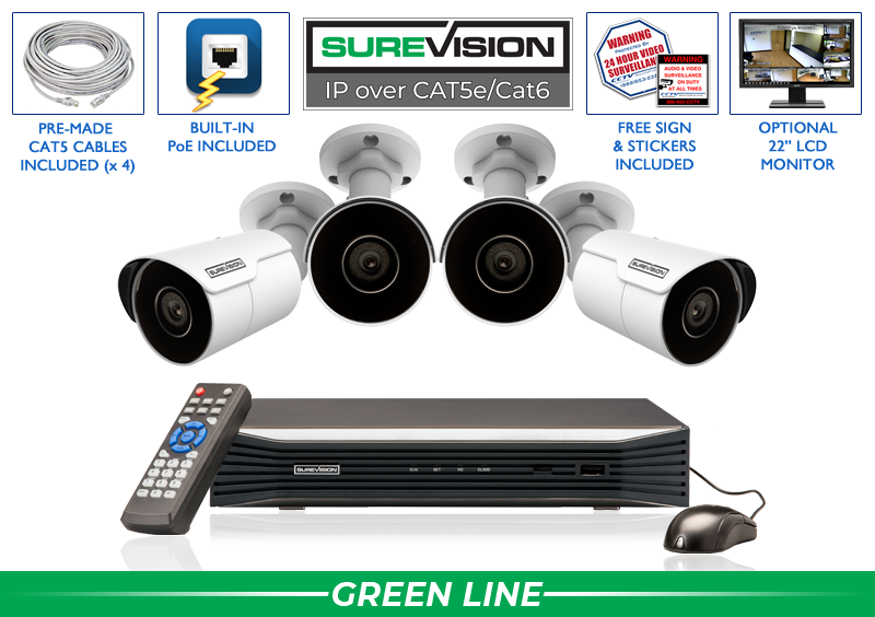 8 Channel NVR with 4 IP Bullet Cameras with 164 Foot Night Vision  / 4IPMB4-S