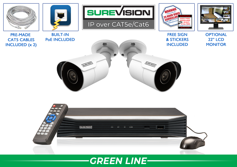Complete 2 Camera HD IP Surveillance System with 164 Foot Night Vision / 2IPMB4-S