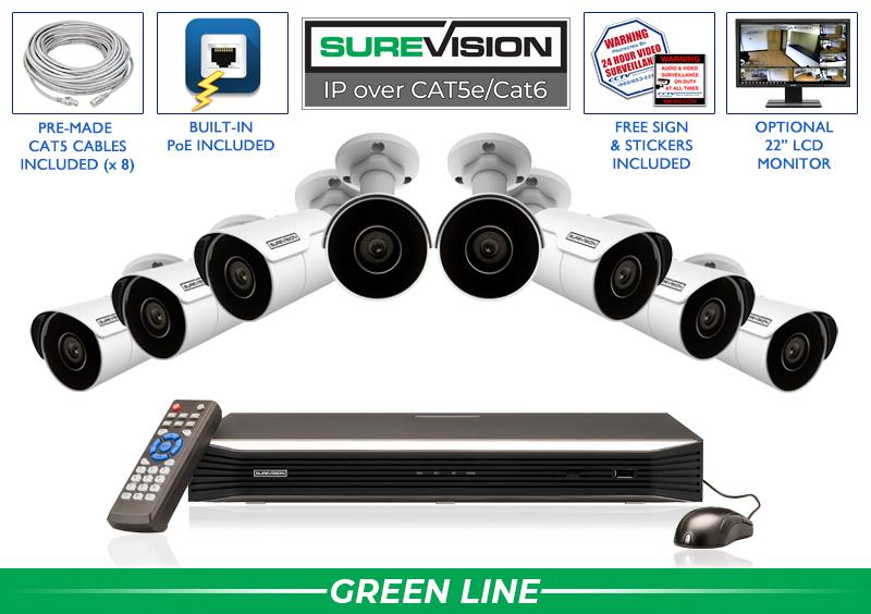 8 Camera IP Surveillance Camera System with Infrared Bullet Cameras / 8IPMB4-S