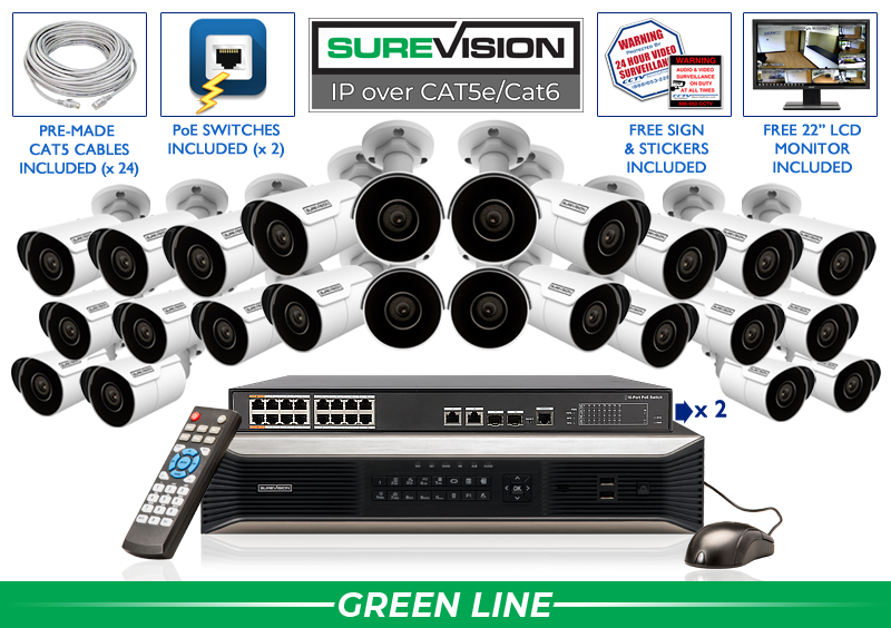 IP Camera System with 24 4K IP Cameras and 32 Channel NVR / 24IPMB4-S
