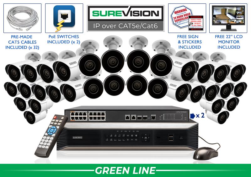 Complete 32 Channel IP Camera Indoor Outdoor System / 32IPMB4-S