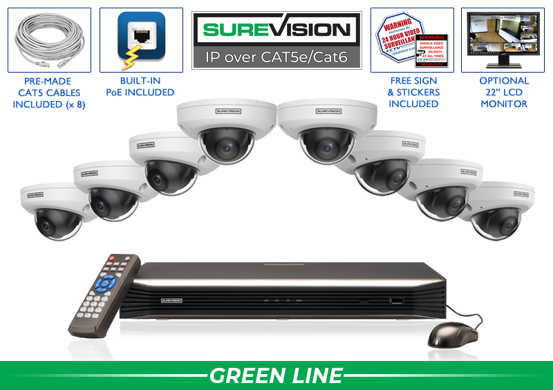 Complete 4 Megapixel Dome IP Security System with Network Video Recorder / 8IPVD4-S